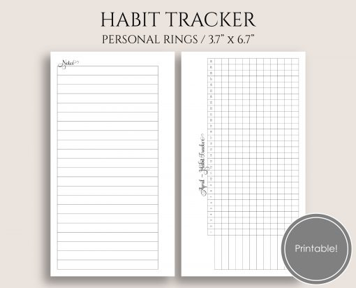 Monthly Habit Tracker Personal Rings Planner Printable