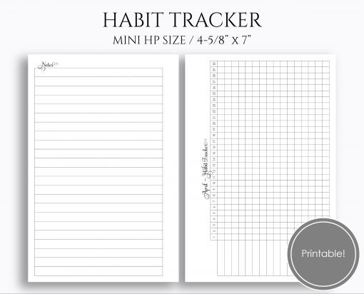 Monthly Habit Tracker Mini Happy Planner Printable Planner Inserts