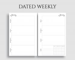 Dated Horizontal Weekly Layout with Habit Tracker Printable Planner Inserts