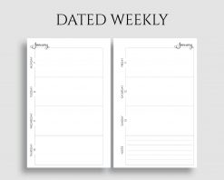 Dated Horizontal Weekly Layout with Notes Printable Planner Inserts