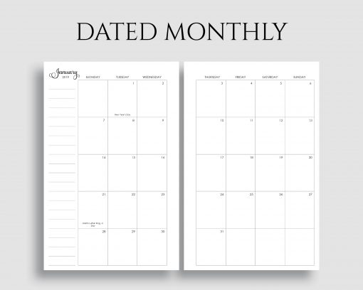 Dated Monthly Calendar Monday Start Printable Planner Inserts
