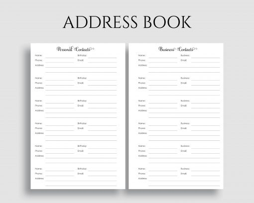 Address Book Personal Business Contacts Phone Addresses Printable Planner Inserts