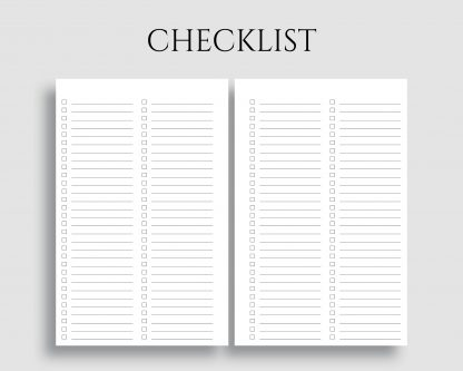 Checklist To Do Lists Task Tracker Pages Printable Planner Inserts