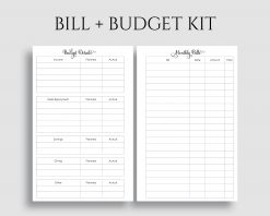 Monthly Bills Budget Kit Home Finances Income Debt Payment Tracker Printable Planner Inserts