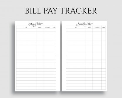 Monthly Bill Pay Tracker Bills Due Reminder Printable Planner Inserts