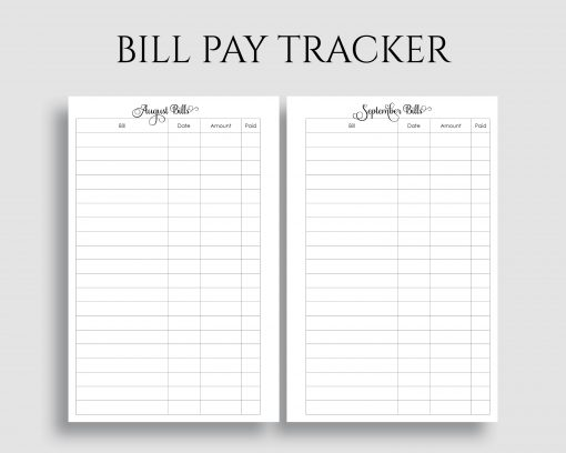photograph regarding Bill Pay Printable named Month-to-month Monthly bill Pay out Tracker