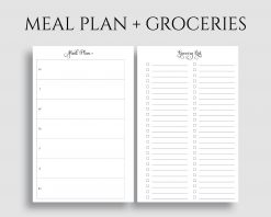 Meal Plan Grocery Shopping List Printable Planner Inserts