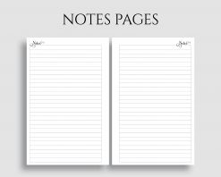 Lined Notes Pages Filler Paper Printable Planner Inserts