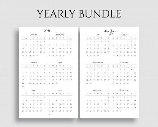 Yearly Calendar Bundle Important Dates to Remember Year at a Glance Printable Planner Inserts