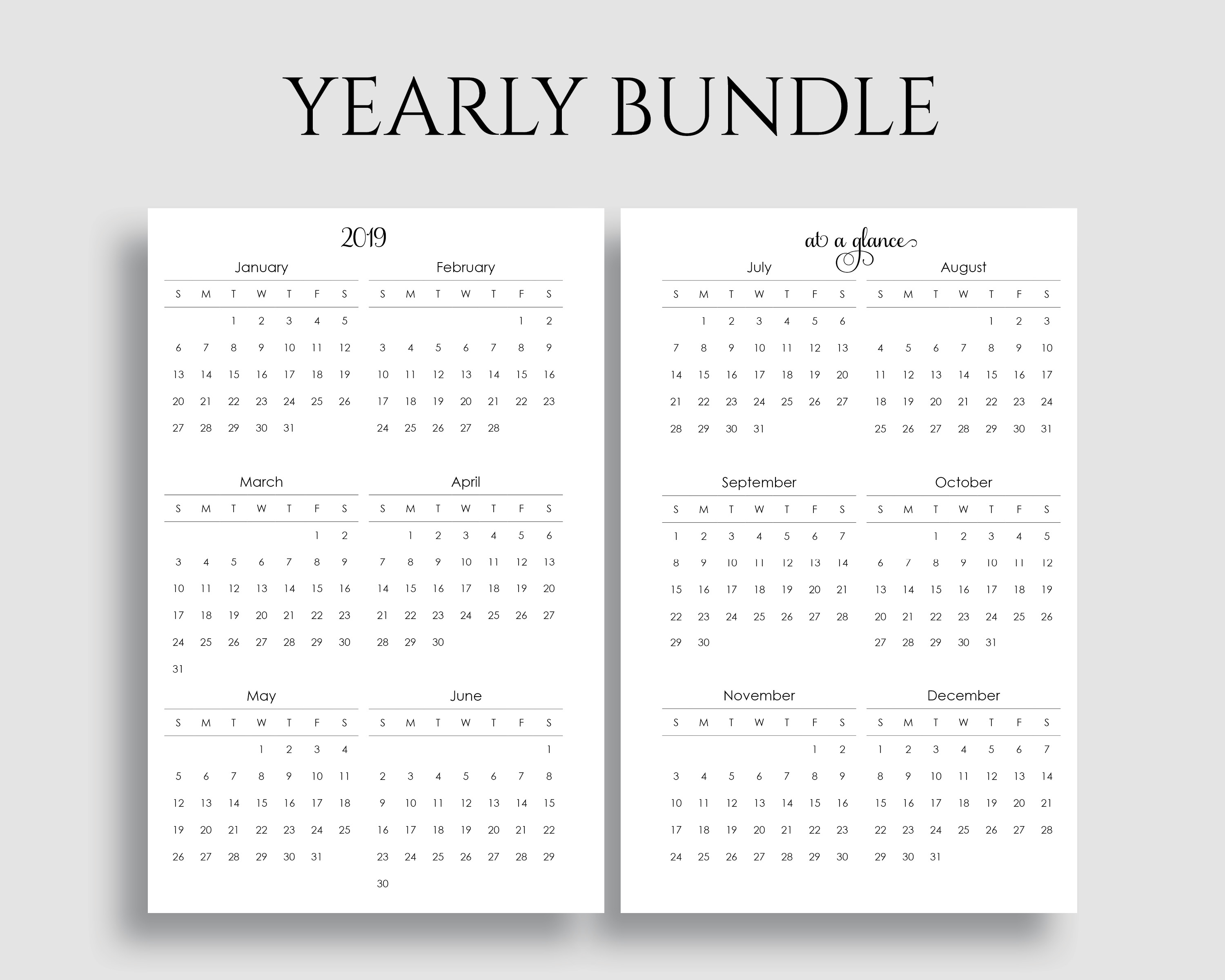 Yearly Calendar Bundle - PT Paper