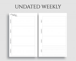 Undated Horizontal Weekly Layout Notes Printable Planner Inserts
