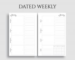 Dated Horizontal Weekly Layout To Do List Habit Tracker Printable Planner Inserts