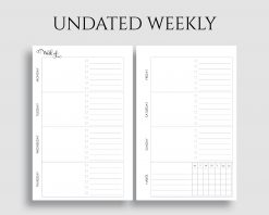 Undated Horizontal Weekly Layout To Do List Habit Tracker Printable Planner Inserts
