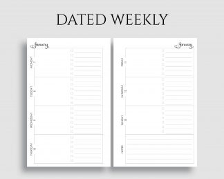 Dated Horizontal Weekly Layout To Do List Notes Printable Planner Inserts
