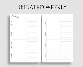 Undated Horizontal Weekly Layout To Do List Notes Printable Planner Inserts