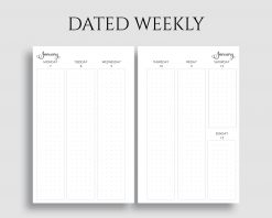 Dated Horizontal Weekly Layout Dot Grid Columns Printable Planner Inserts