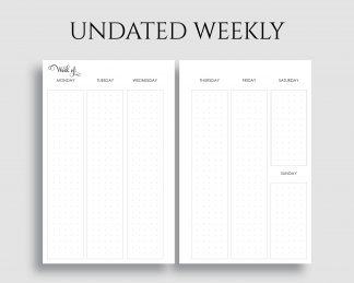 Undated Vertical Weekly Layout Dot Grid Columns WO2P Printable Planner Inserts