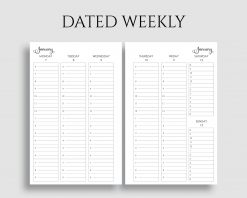 Dated Vertical Weekly Layout Timed Hourly Printable Planner Inserts