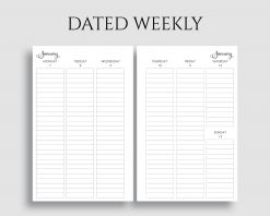 Dated Vertical Weekly Layout Lined Columns Printable Planner Inserts