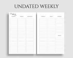 Undated Vertical Weekly Layout Lined Columns Printable Planner Inserts
