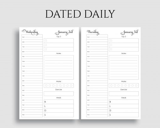 Dated Daily Schedule To Do List Meal Tracker Printable Planner Inserts
