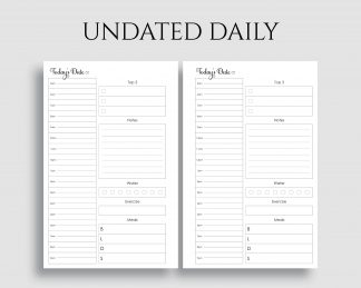 Undated Daily Schedule To Do List Meal Tracker Printable Planner Inserts