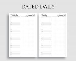 Dated Daily Layout Schedule Dot Grid Notes Printable Planner Inserts