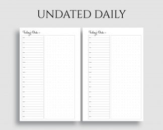 Undated Daily Schedule Dot Grid Notes Printable Planner Inserts