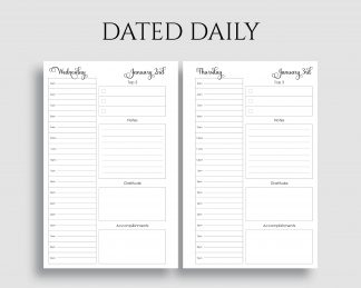 Dated Daily Layout Schedule To Do List Gratitude Printable Planner Inserts
