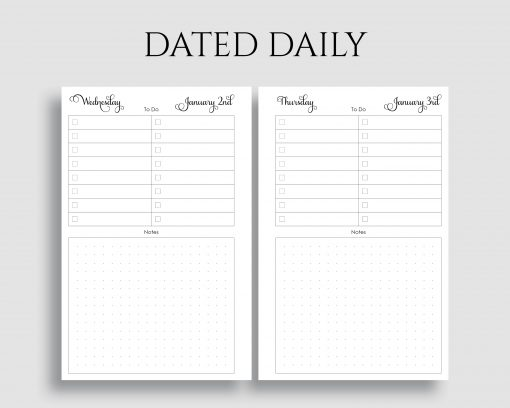 Dated Daily To Do List Dot Grid Notes Printable Planner Inserts