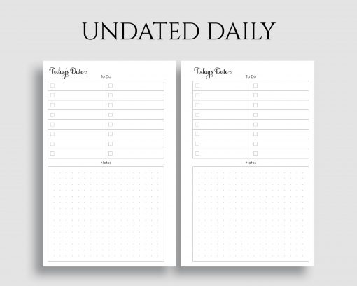 Undated Daily To Do List Dot Grid Notes Printable Planner Inserts