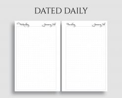 Dated Daily Dot Grid Bullet Journal Pages Printable Planner Inserts