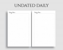 Undated Daily Dot Grid Bullet Journal Pages Printable Planner Inserts