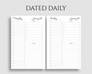 Dated Daily Schedule To Do List Notes Printable Planner Inserts