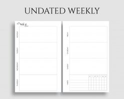 Undated Horizontal Weekly Layout Habit Tracker Printable Planner Inserts