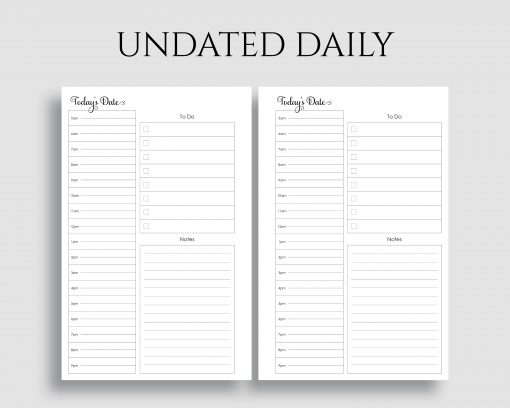 Undated Daily Schedule To Do List Notes Printable Planner Inserts