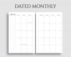 Dated Monthly Calendar Sunday Start Printable Planner Inserts