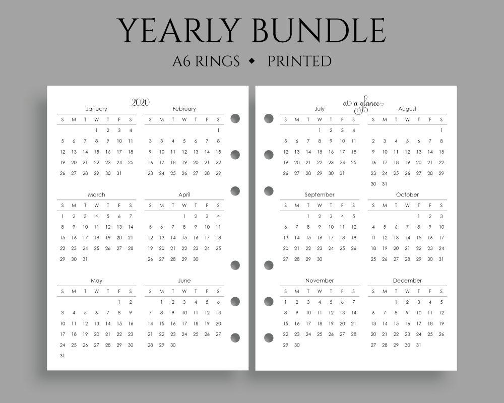Yearly Calendar Bundle 2020 2021 Pt Paper